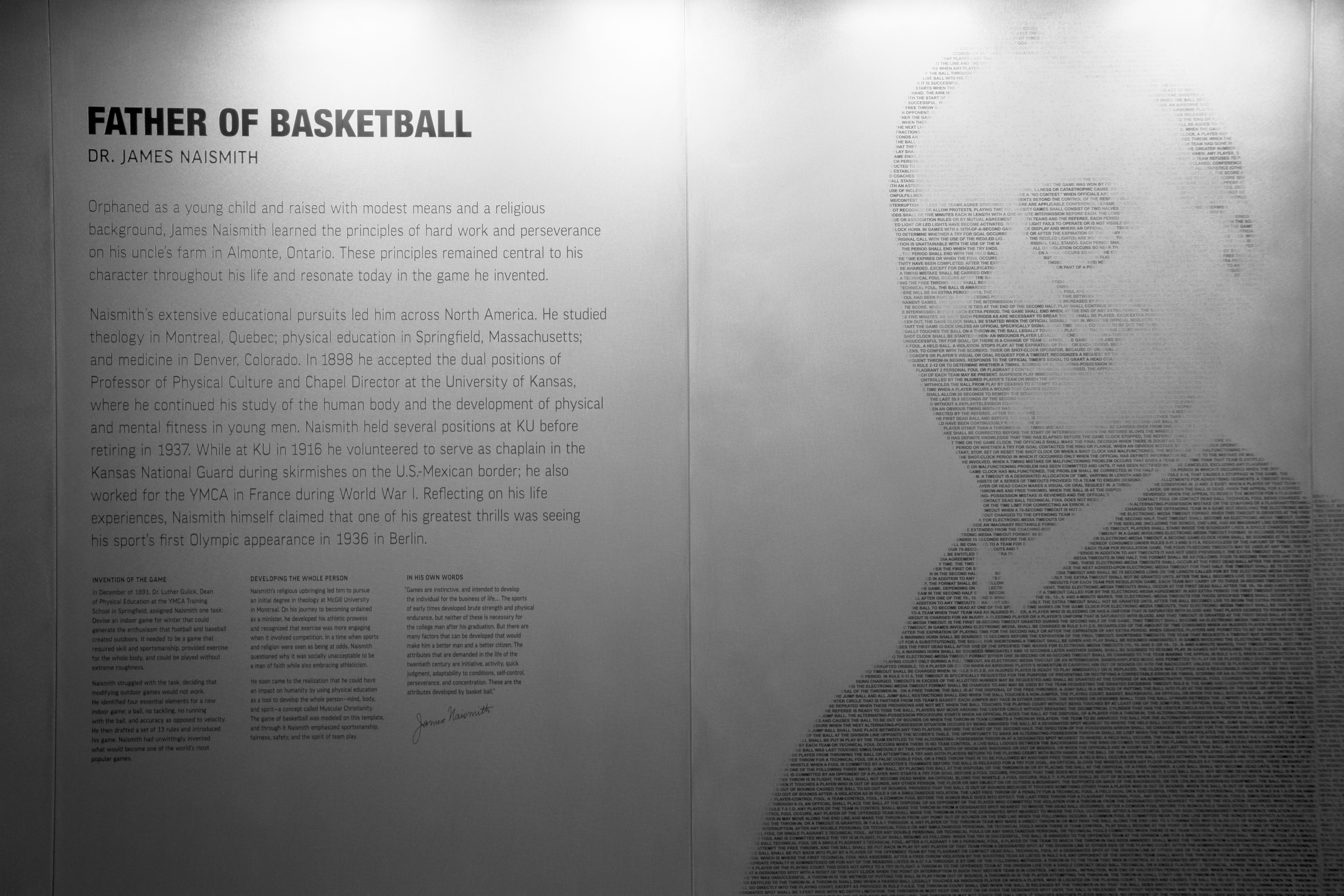 The Naismith Mural in the DeBruce Center.