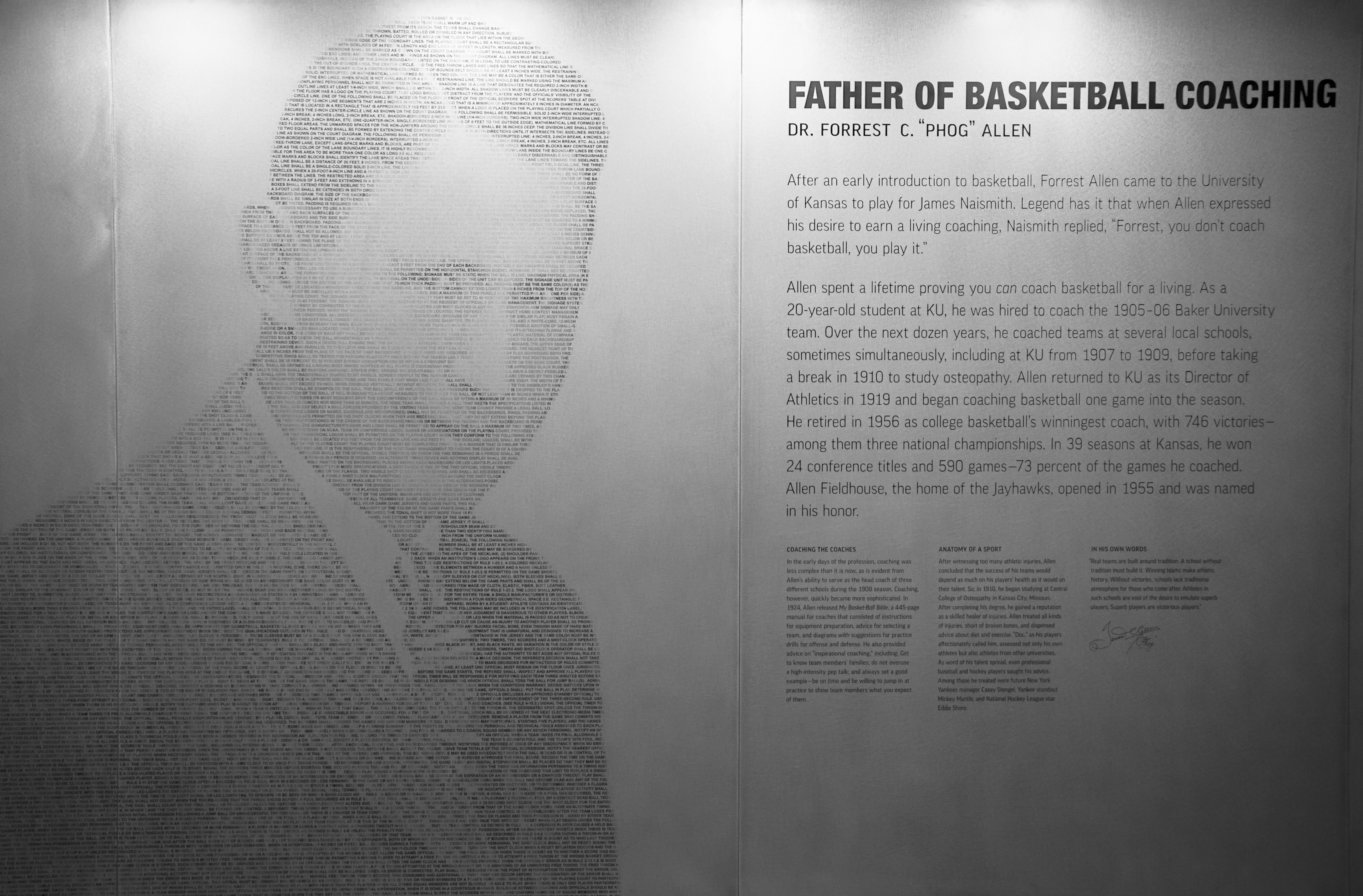 The Phog Allen Mural in the DeBruce Center.