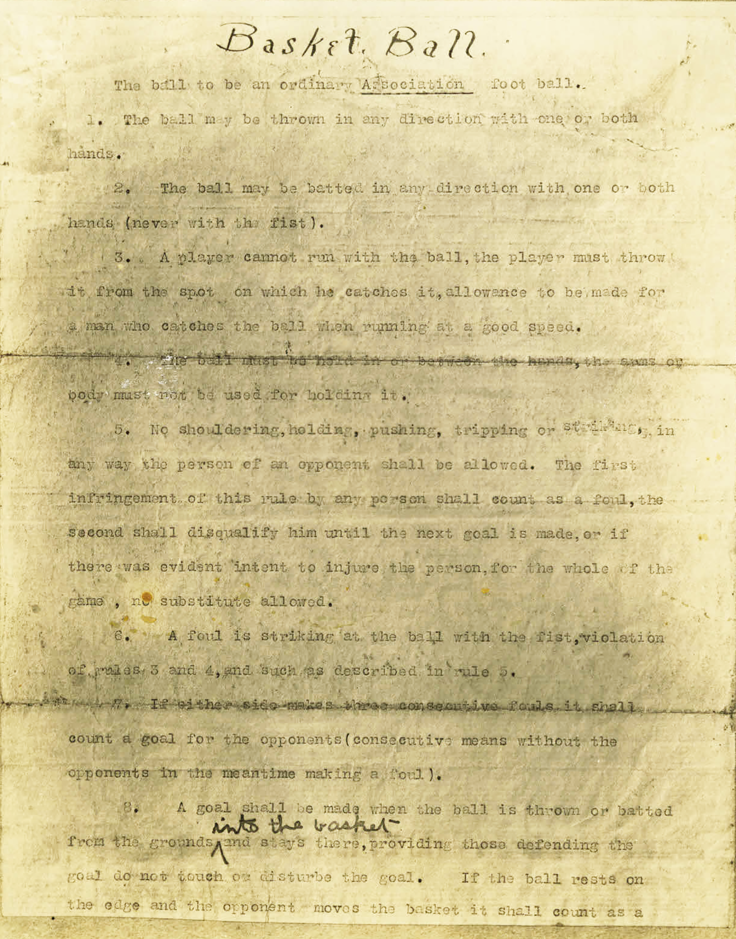 "Page 1 of the Original Rules of ""Basket Ball."""