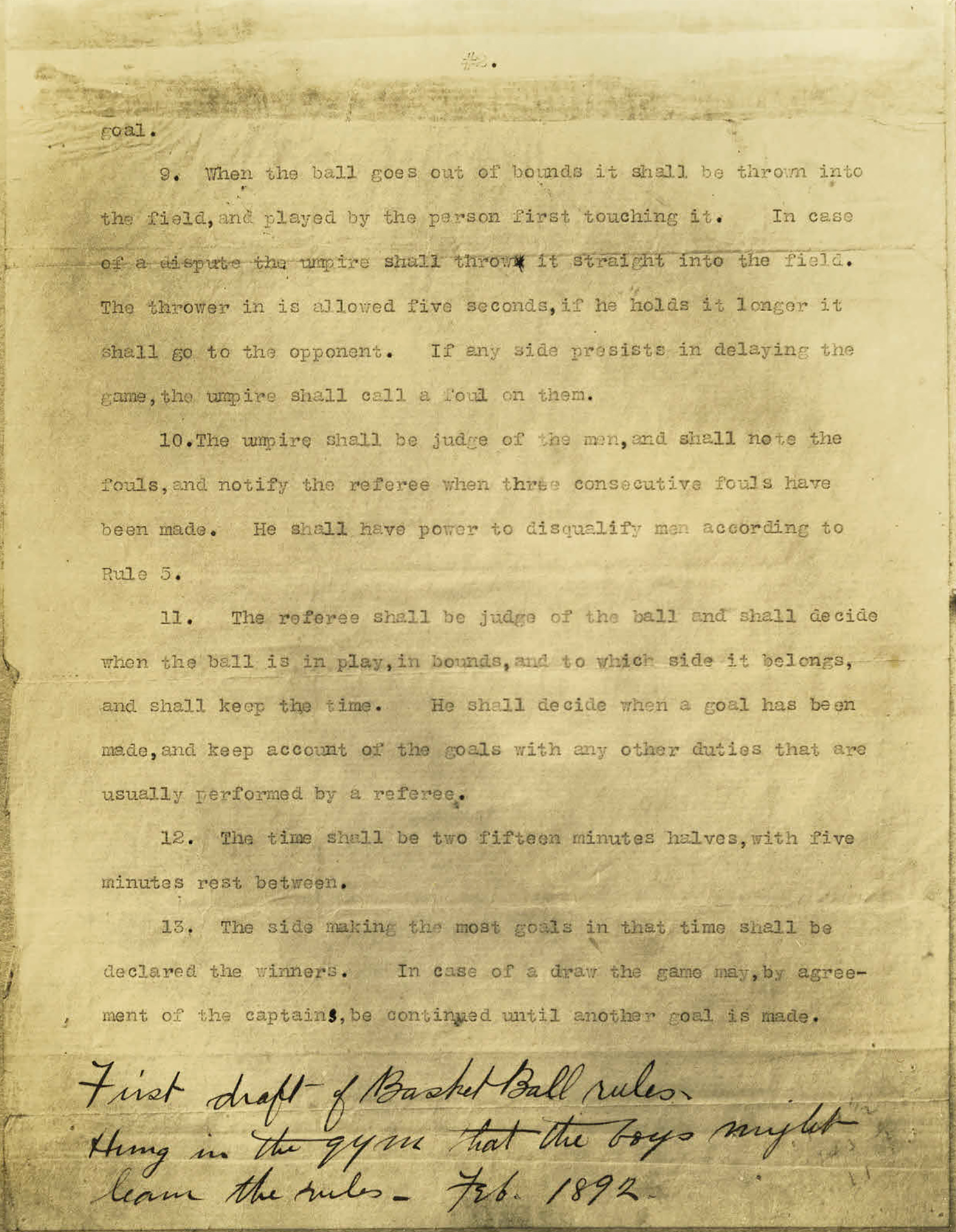 "Page 2 of the Original Rules of ""Basket Ball."""
