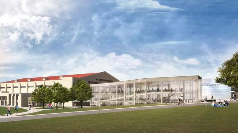 DeBruce Center rendering with Allen Fieldhouse