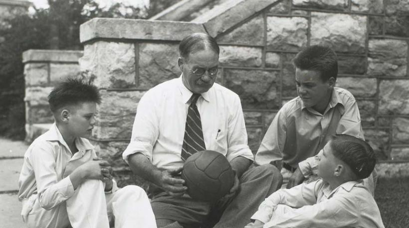 James Naismith with kids